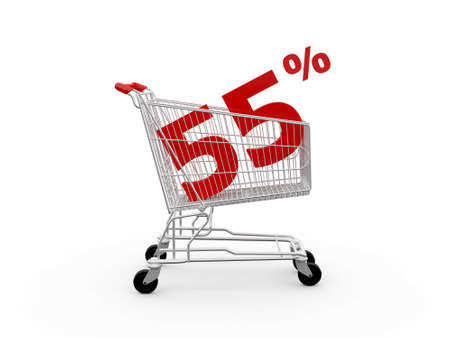 ramping: Shopping cart and red fifty five percentage discount, isolated on white background.