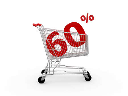 Shopping cart and red sixty percentage discount, isolated on white background. photo