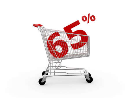 ramping: Shopping cart and red sixty five percentage discount, isolated on white background.