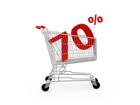 ramping: Shopping cart and red seventy percentage discount, isolated on white background. Stock Photo