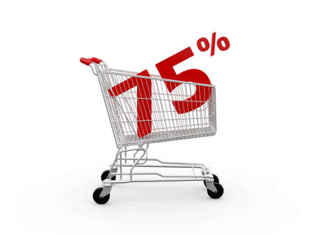 Shopping cart and red seventy percentage discount, isolated on white background. photo