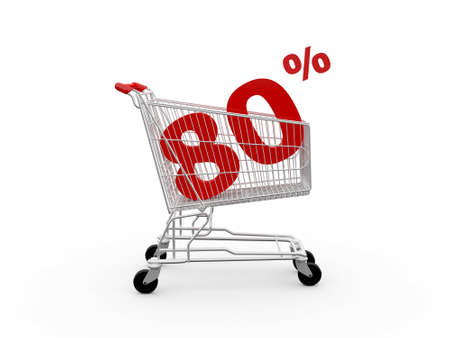 ramping: Shopping cart and red eighty percentage discount, isolated on white background.