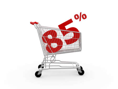 ramping: Shopping cart and red eighty five percentage discount, isolated on white background.