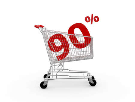 ramping: Shopping cart and red ninety percentage discount, isolated on white background.