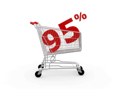 ramping: Shopping cart and red ninety five percentage discount, isolated on white background.