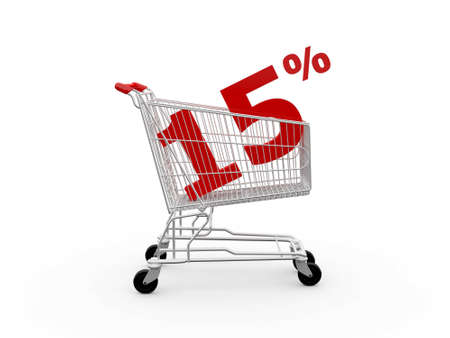 ramping: Shopping cart and red fifteen percentage discount, isolated on white background.