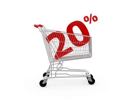 Shopping cart and red twenty percentage discount, isolated on white background. photo