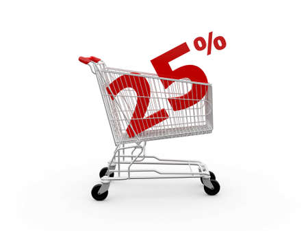twenty five: Cesta de la compra y rojo veinticinco porcentaje de descuento, aislados sobre fondo blanco.