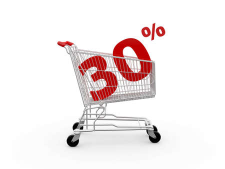 ramping: Shopping cart and red thirty percentage discount, isolated on white background.