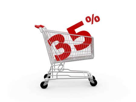 thirty five: Carrello e rosso trentacinque percentuale di sconto, isolato su sfondo bianco.