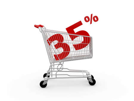 thirty five: Shopping cart and red thirty five percentage discount, isolated on white background.