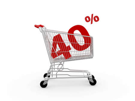 Shopping cart and red forty percentage discount, isolated on white background. photo