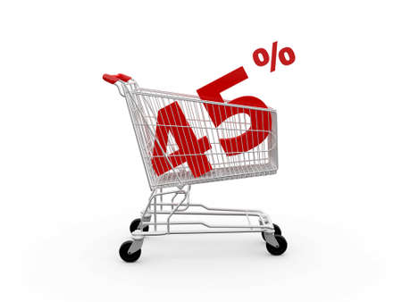 Shopping cart and red forty five percentage discount, isolated on white background. photo