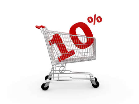 Shopping cart and red ten percentage discount, isolated on white background. photo