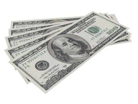 one dollar bill: One hundred dollar bills, isolated on white.