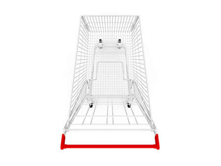 ramping: Empty shopping cart, top view, isolated on white background.