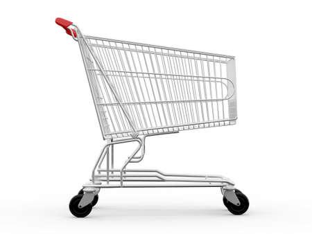 빈 쇼핑 카트, 측면보기, 흰색 배경에 고립.