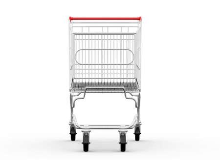 Leeg winkelwagentje, vooraanzicht, geïsoleerd op een witte achtergrond. Stockfoto
