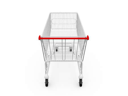 Empty shopping cart, back view, isolated on white background. Stock Photo