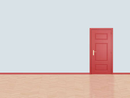 Red closed door in a fresh, empty room and wooden floor. photo