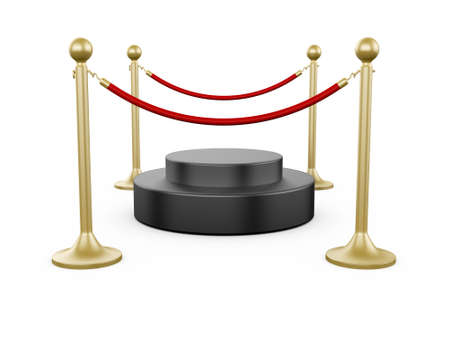 stanchion: Golden fence, stanchion with red barrier rope and podium, isolated on white background.