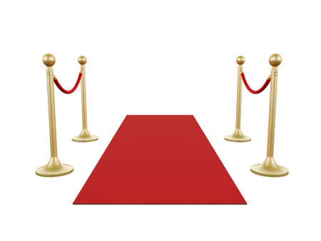 stanchion: Golden fence, stanchion with red barrier rope and carpet, isolated on white background. Stock Photo