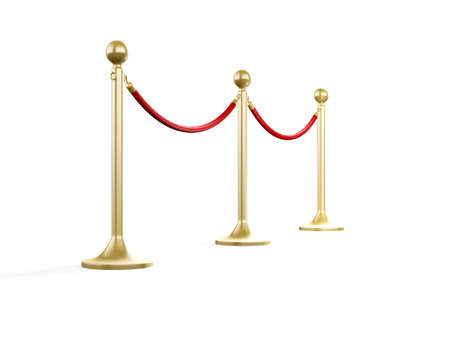 barrier rope: Golden fence, stanchion with red barrier rope, isolated on white background.