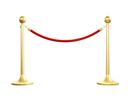 Golden fence, stanchion with red barrier rope, isolated on white background.