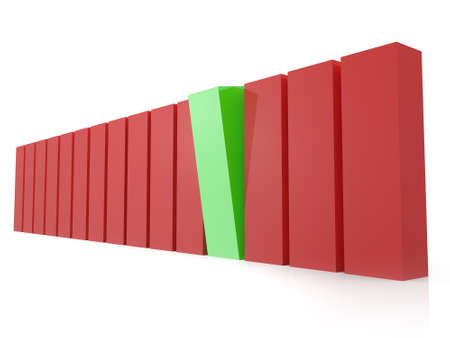Green bar standing out from the crowd, red bars, isolated on white background. photo