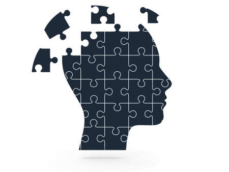 Human head and puzzle pieces, isolated on white background. photo