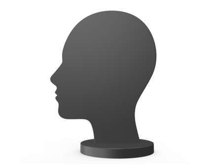 blank empty male human head silhouette from side view isolated