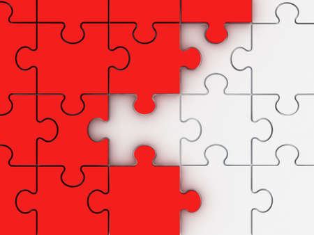 Incomplete concept, red jigsaw puzzle pieces. photo