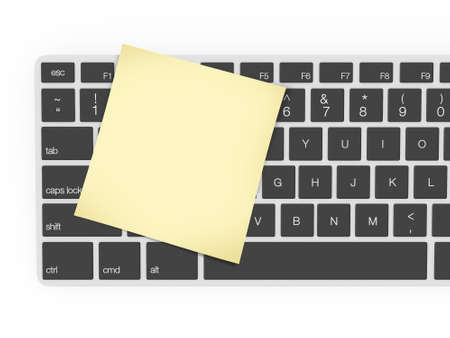 Keyboard and yellow blank sticky note, isolated on white background. photo
