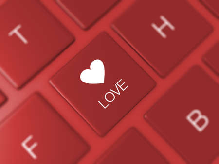 Love key and heart icon on red blurry keyboard.