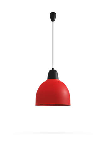 Modern red hanging lamp, isolated on white background.