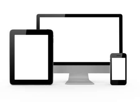 multi touch: Monitor, mobile phone and tablet with blank screen isolated on white background.