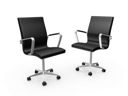 Twee zwarte leren baas stoelen voor kantoor, op een witte achtergrond. Stockfoto
