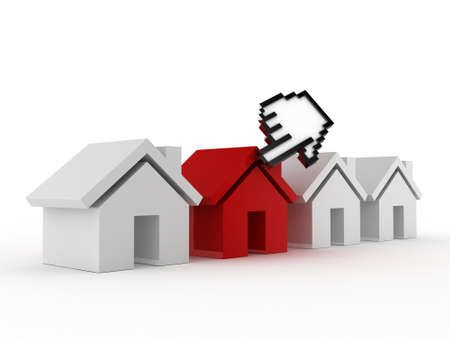 Online shopping concept, mouse hand cursor choices red real estate house for purchase, sale or rent, isolated on white background. photo