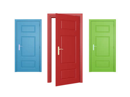 Red door opened, blue and green doors closed, isolated on white background.