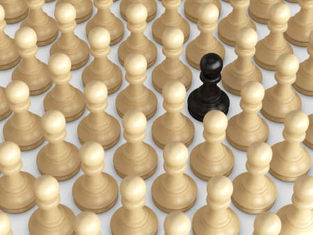 distinction: Black pawn standing out from the crowd, brown chess pieces.