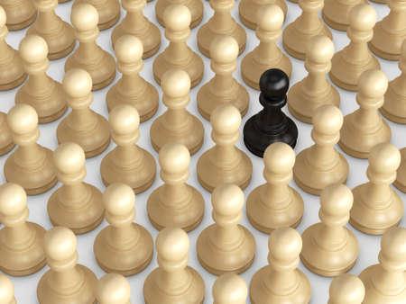 Zwarte pion staande uit de menigte, bruine schaakstukken.