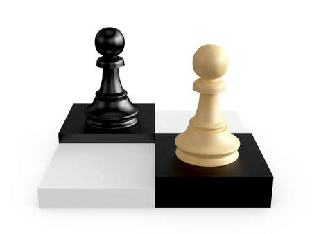 battle plan: Black and brown pawns on chess board cells, isolated on white background.