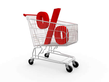 Red percentage symbol in shopping cart, isolated on white background. photo
