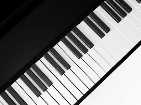 Piano keys on grand piano, top view, isolated on white background. Stock Photo - 22593695