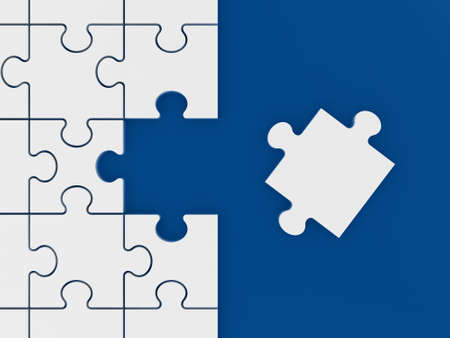 Puzzle waiting to be completed on blue background. photo