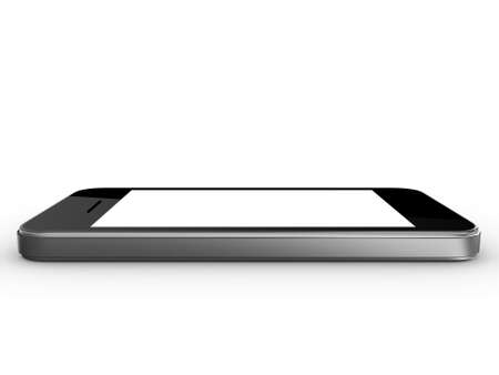 multi touch: Realistic mobile phone device with blank touch screen with black frame, isolated on white background.
