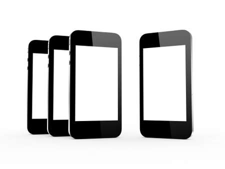 multi touch: Realistic mobile phones with blank screen, isolated on white background.