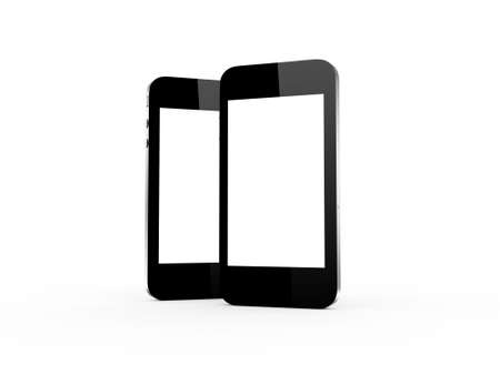 multi touch: Realistic smart phones with blank screen, isolated on white background. Stock Photo