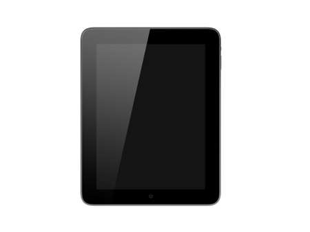 multi touch: Realistic and modern tablet computer device with blank touch screen with black frame, front view, isolated on white background. Stock Photo