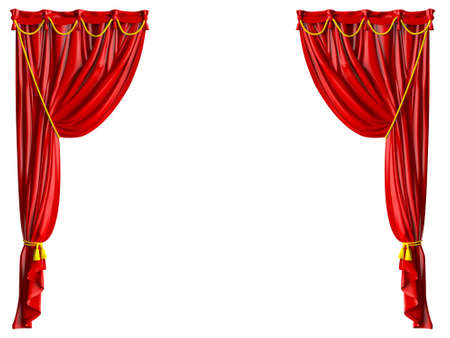 awards ceremony: Red shiny theater curtains and yellow ropes, isolated on white background.